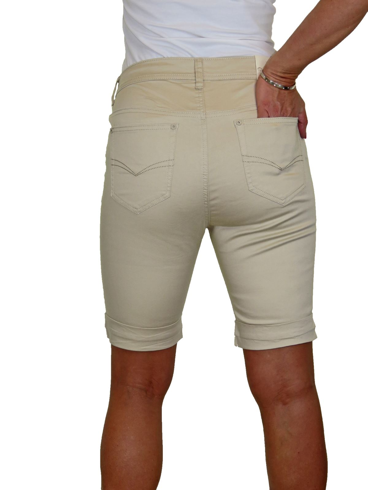 Ladies-Stretch-Stretch-Plus-Size-Jeans-Style-Shorts-Chino-Sheen-14-24 thumbnail 4