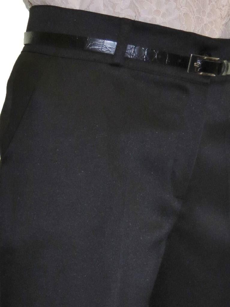 Ladies-Smart-Crop-Capri-Trousers-Matt-Satin-Evening-Easy-Fit-With-Belt-NEW-8-22 thumbnail 11