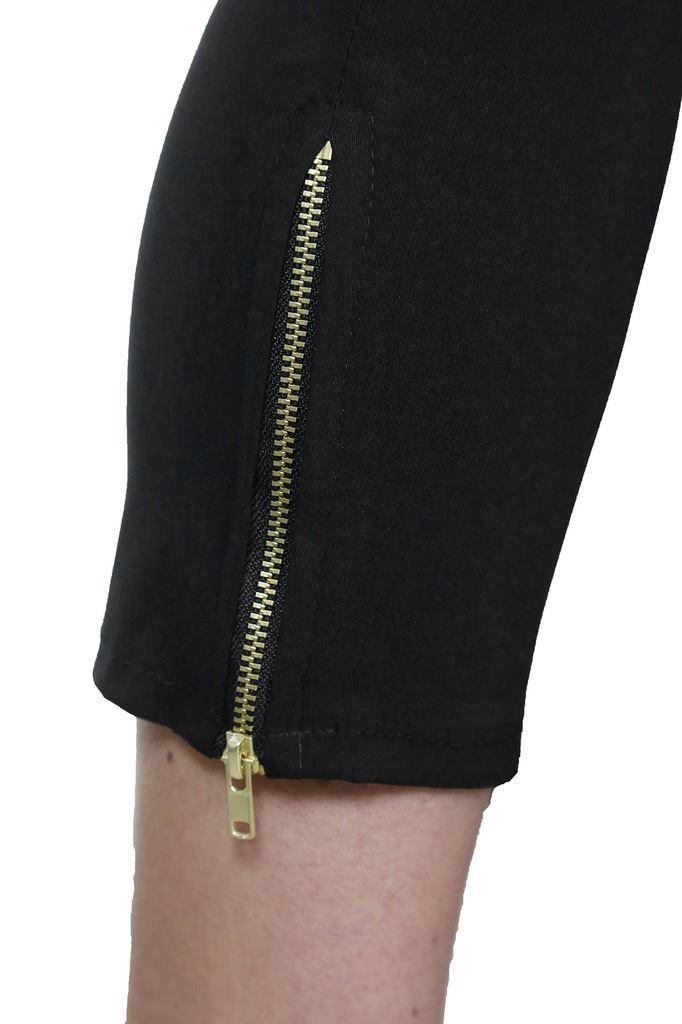 Womens-Stretchy-Low-Rise-Capri-Trousers-Leg-Zip-Detail-Black-6-18 thumbnail 5
