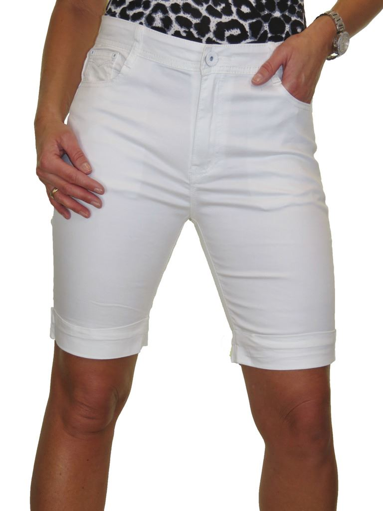 Ladies-Stretch-Stretch-Plus-Size-Jeans-Style-Shorts-Chino-Sheen-14-24 thumbnail 27