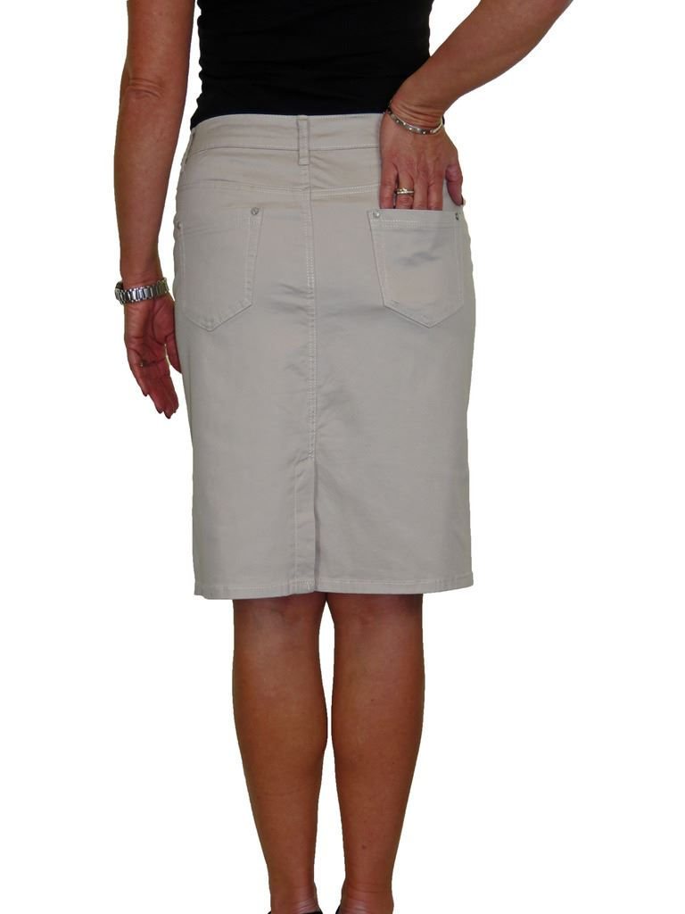 ICE-Stretch-Chino-Jeans-Style-Below-Knee-Pencil-Skirt-10-22 thumbnail 23