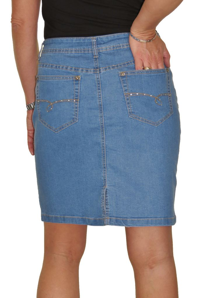 ICE-2550-Stretch-Denim-Above-Knee-Length-Jeans-Skirt-Mid-Blue-Size-8 thumbnail 5