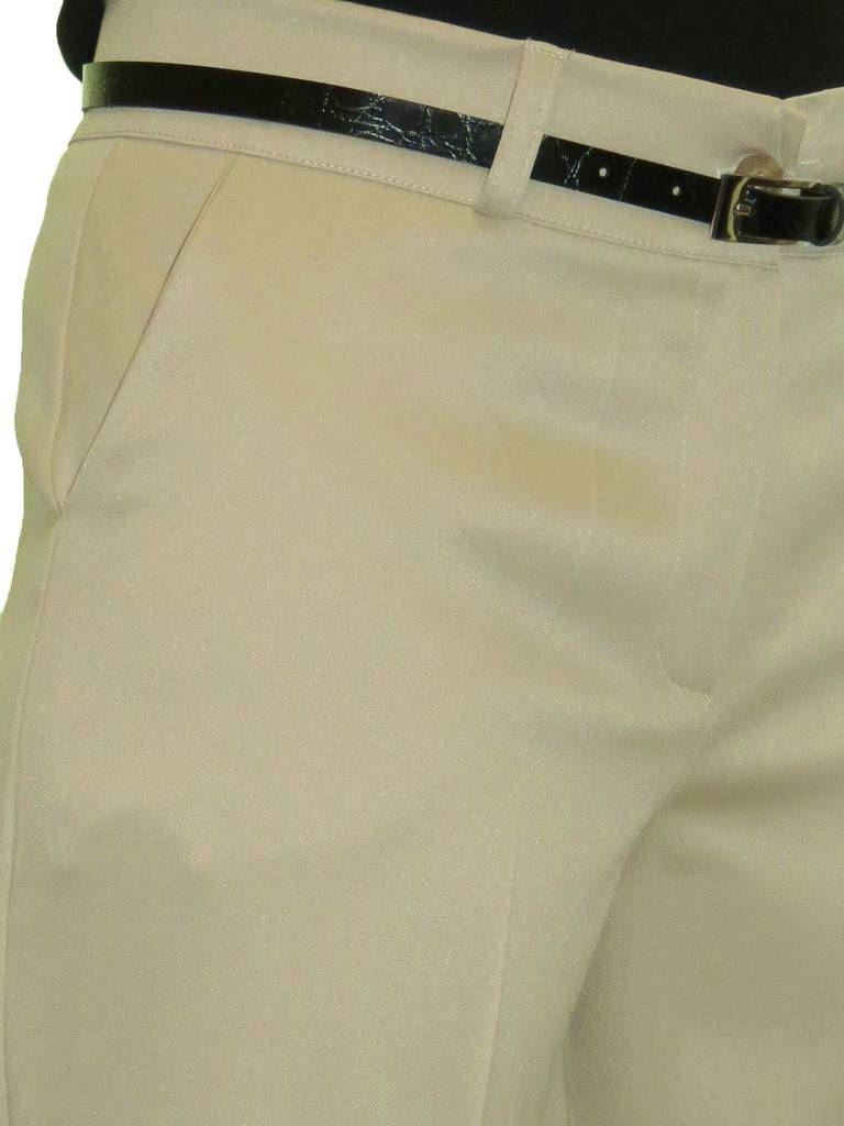 Ladies-Smart-Crop-Capri-Trousers-Matt-Satin-Evening-Easy-Fit-With-Belt-NEW-8-22 thumbnail 5