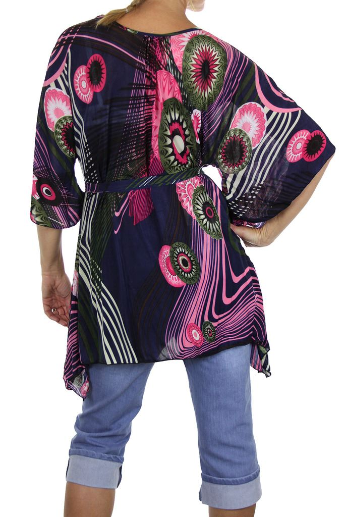 Womens-Silky-Feel-Kimono-Angel-Wing-Sleeve-Tunic-Top-Day-Summer-12-18 thumbnail 12