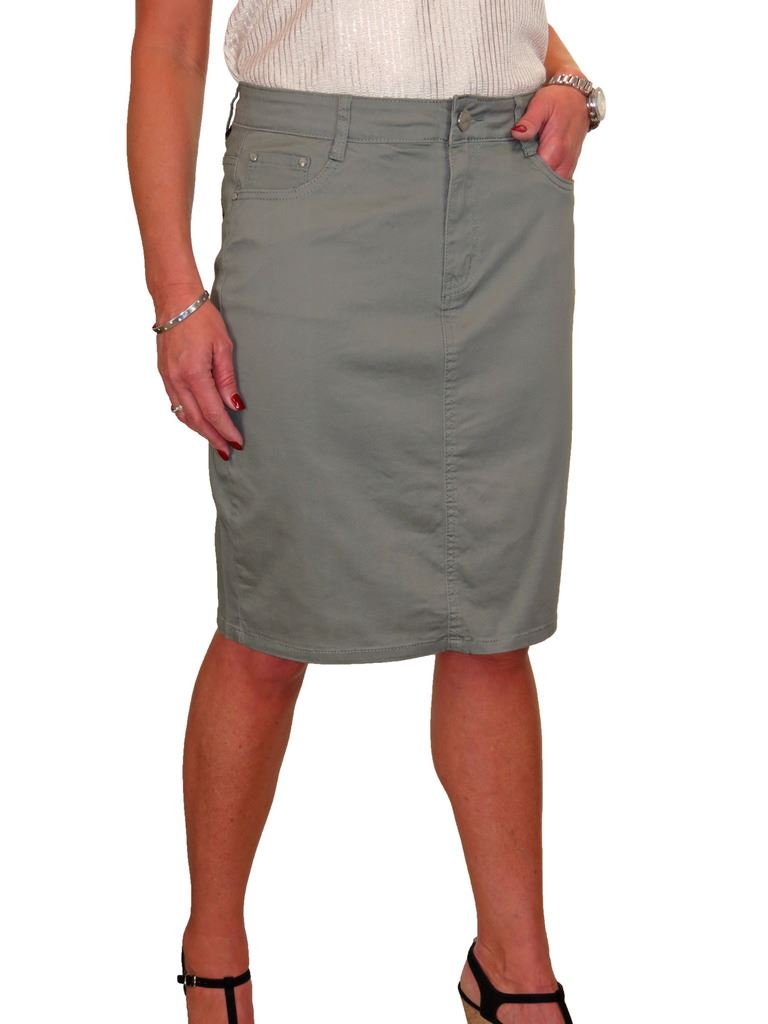 ICE-Stretch-Chino-Jeans-Style-Below-Knee-Pencil-Skirt-10-22 thumbnail 9