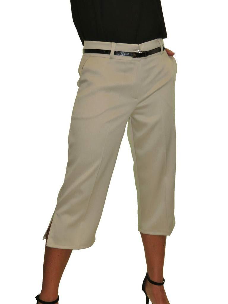 Ladies-Smart-Crop-Capri-Trousers-Matt-Satin-Evening-Easy-Fit-With-Belt-NEW-8-22 thumbnail 4
