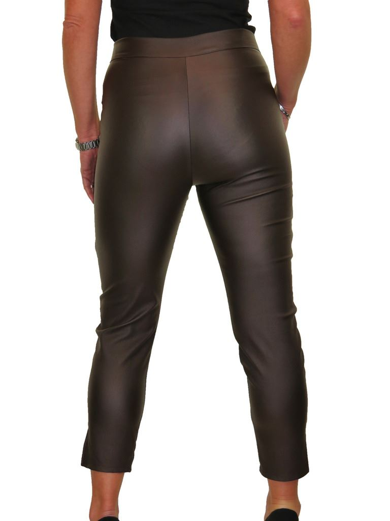 ICE-Womens-High-Waist-Stretch-Leather-Look-Capri-Trousers-10-22 thumbnail 8