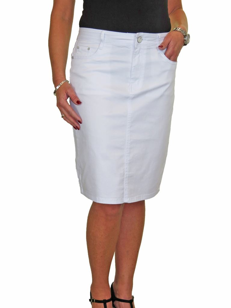 ICE-Stretch-Chino-Jeans-Style-Below-Knee-Pencil-Skirt-10-22 thumbnail 28