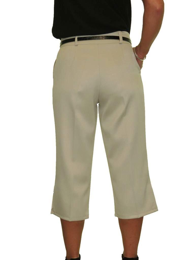 Ladies-Smart-Crop-Capri-Trousers-Matt-Satin-Evening-Easy-Fit-With-Belt-NEW-8-22 thumbnail 6