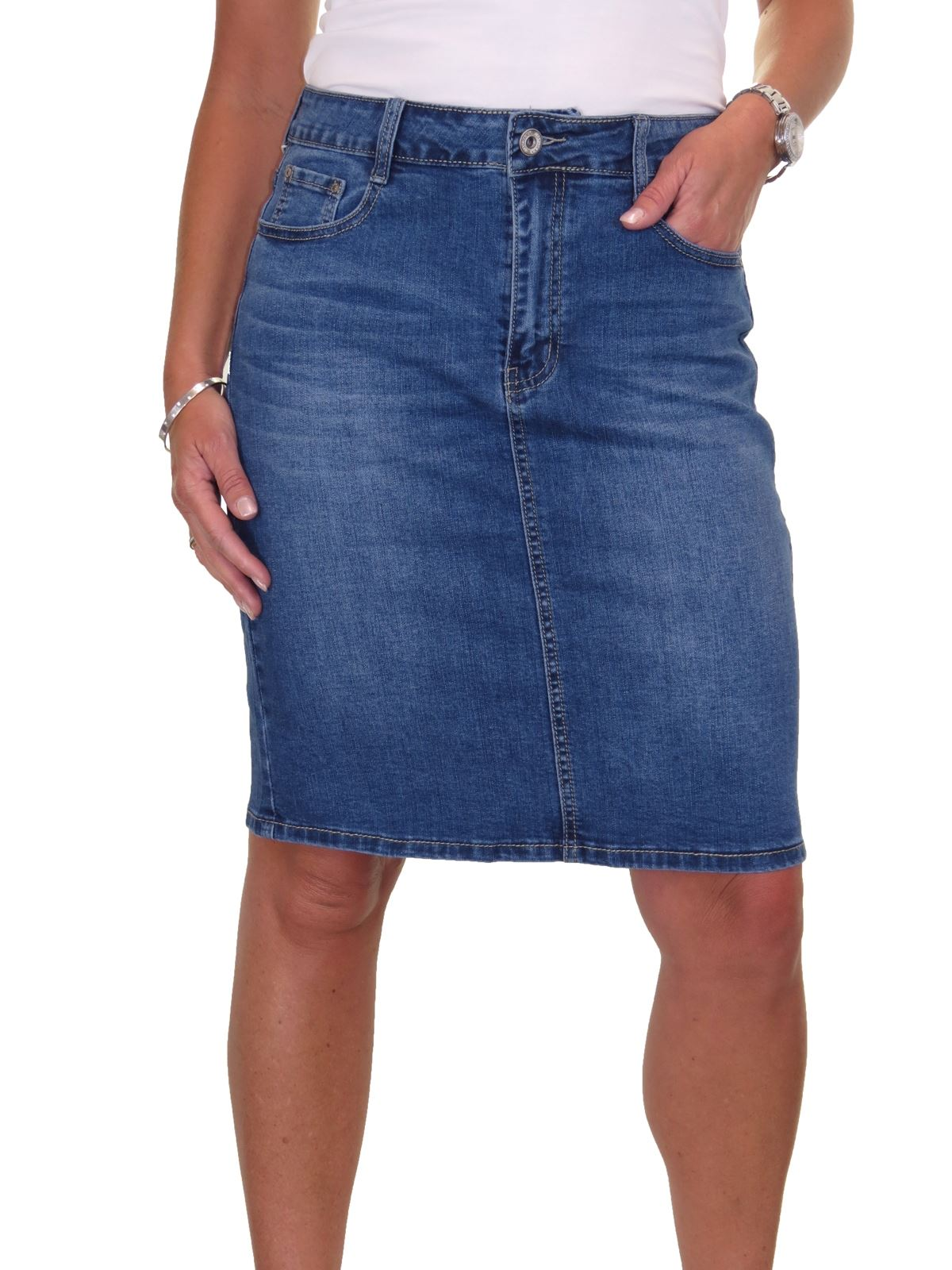 ICE-Stretch-Denim-Above-Knee-Jeans-Pencil-Skirt-Faded-Wash-10-18 thumbnail 9