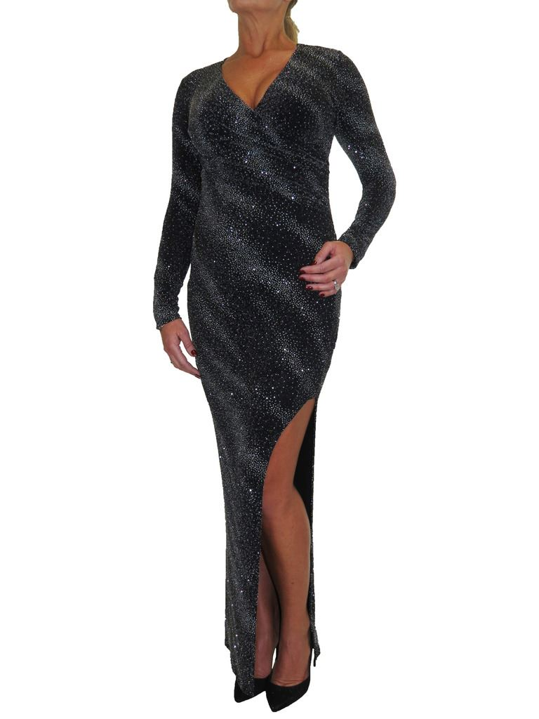 Womens Stretchy Lurex Shimmer Open Leg Maxi Dress Black 10-18