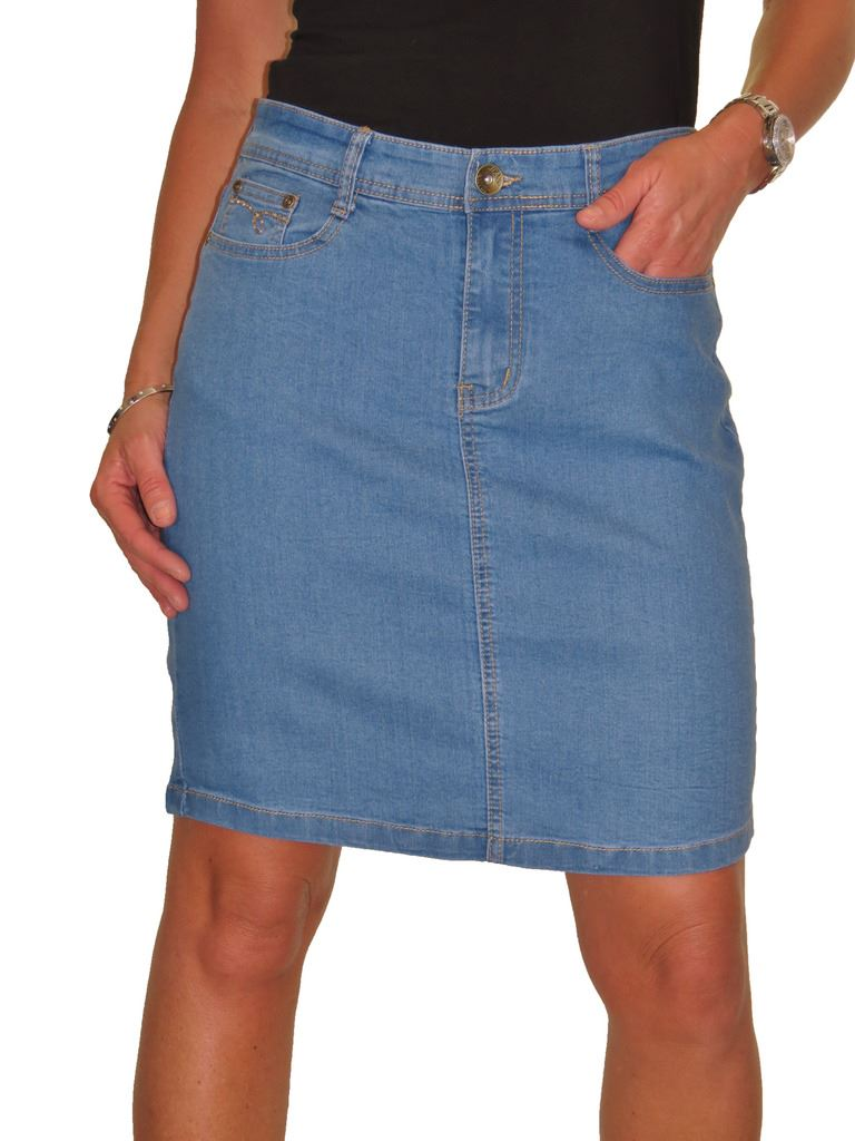 ICE-2550-Stretch-Denim-Above-Knee-Length-Jeans-Skirt-Mid-Blue-Size-8 thumbnail 4