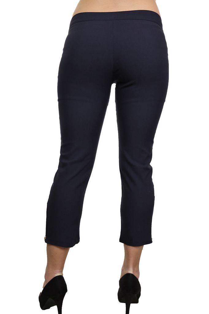 Womens-Stretchy-Low-Rise-Capri-Trousers-Leg-Zip-Detail-Black-6-18 thumbnail 9