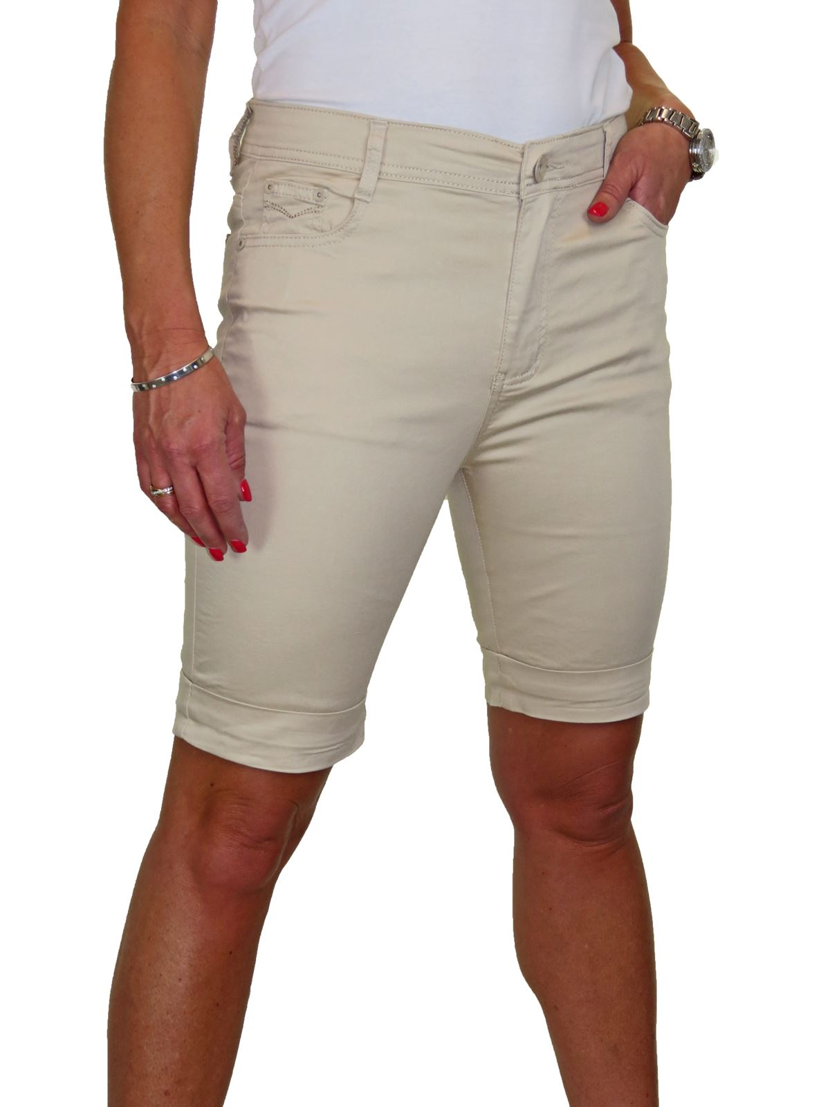 Ladies-Stretch-Stretch-Plus-Size-Jeans-Style-Shorts-Chino-Sheen-14-24 thumbnail 5