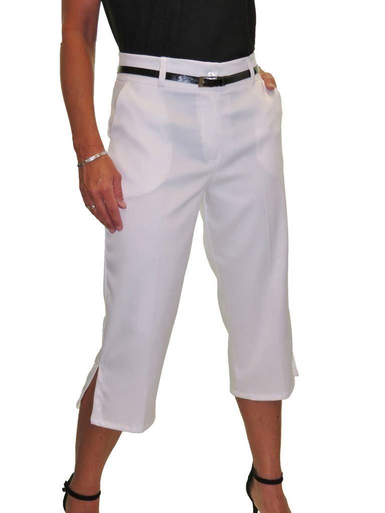 Ladies-Smart-Crop-Capri-Trousers-Matt-Satin-Evening-Easy-Fit-With-Belt-NEW-8-22 thumbnail 22