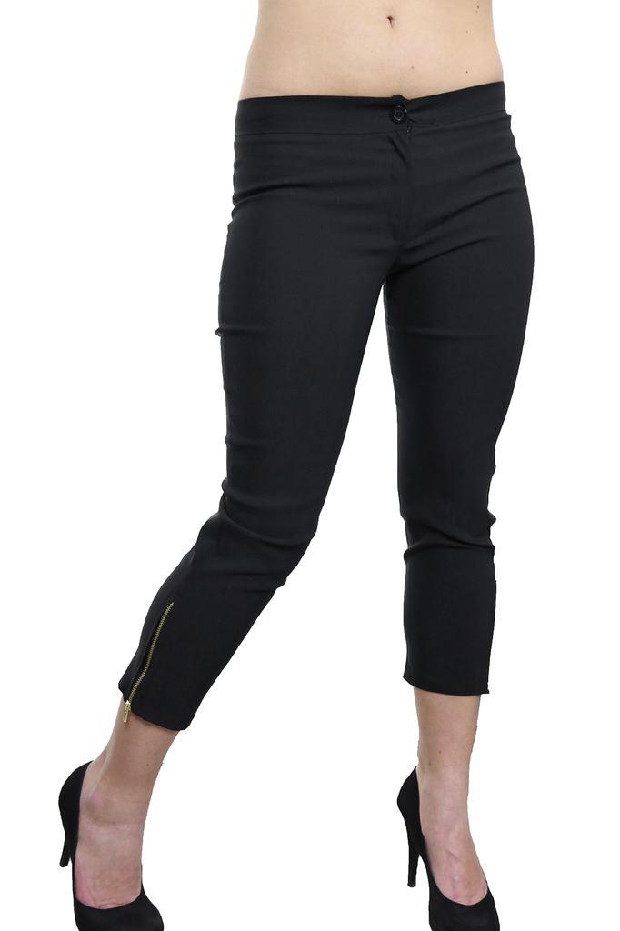 Womens-Stretchy-Low-Rise-Capri-Trousers-Leg-Zip-Detail-Black-6-18 thumbnail 6