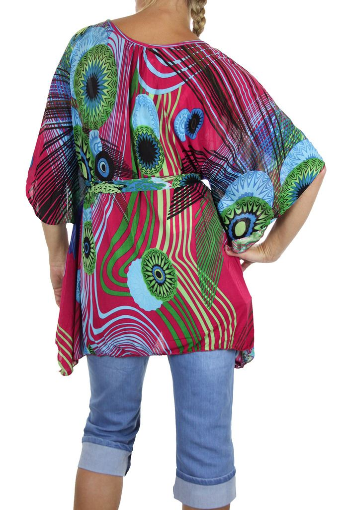 Womens-Silky-Feel-Kimono-Angel-Wing-Sleeve-Tunic-Top-Day-Summer-12-18 thumbnail 4