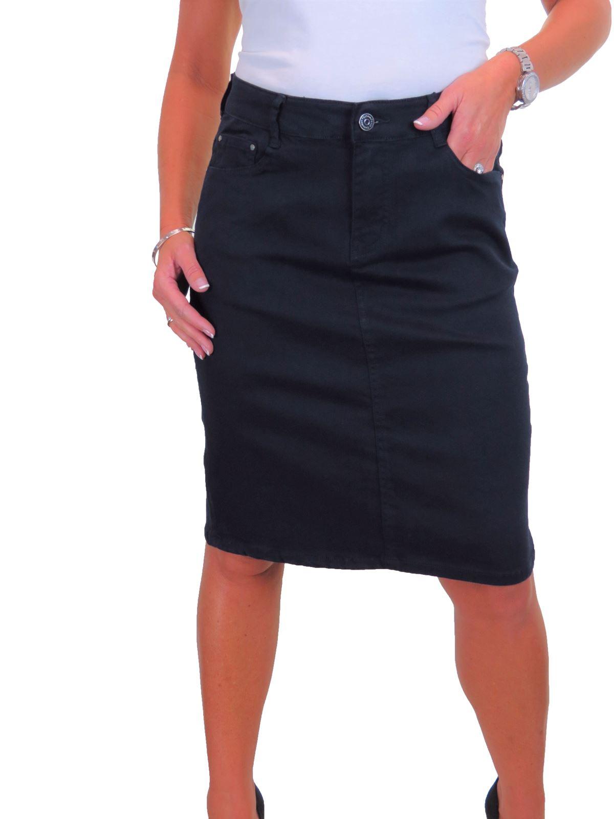 ICE-Womens-Good-Stretch-Jeans-Skirt-Knee-Length-14-22 thumbnail 17