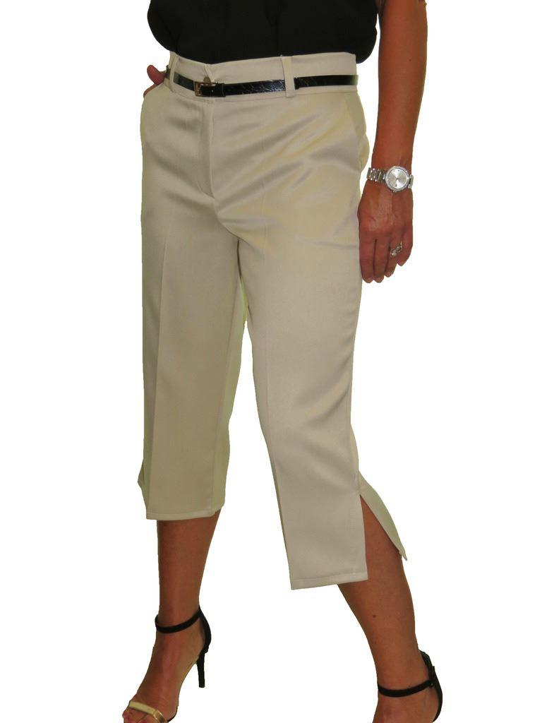 Ladies-Smart-Crop-Capri-Trousers-Matt-Satin-Evening-Easy-Fit-With-Belt-NEW-8-22 thumbnail 7