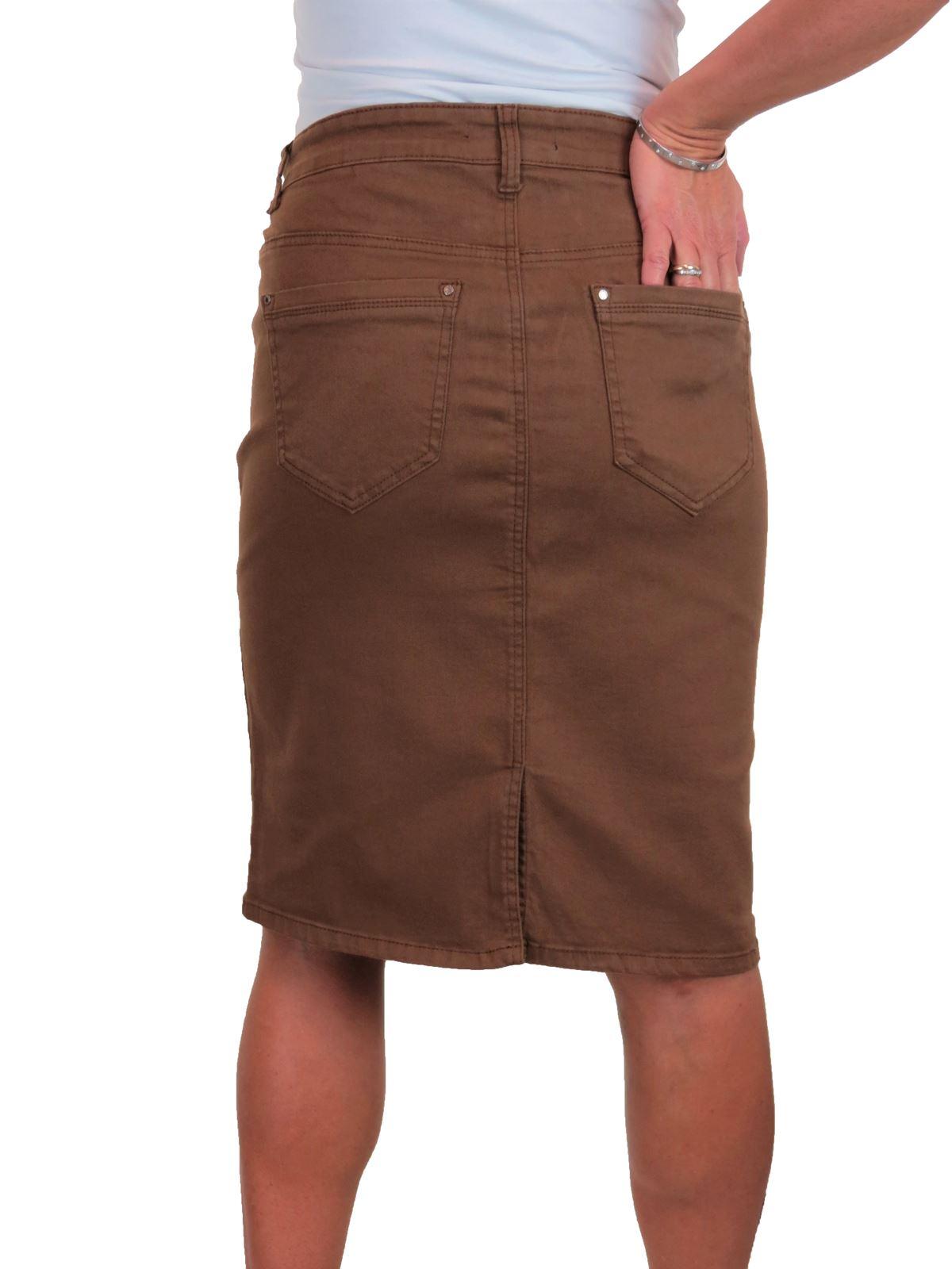 ICE-Womens-Good-Stretch-Jeans-Skirt-Knee-Length-14-22 thumbnail 8