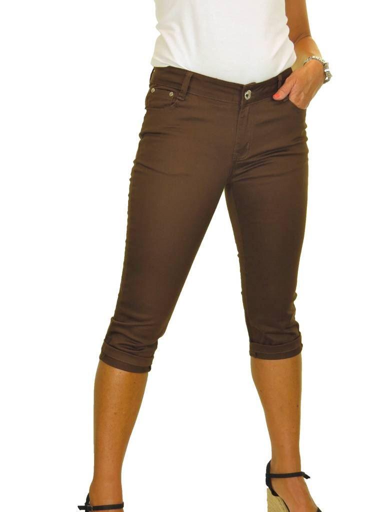 icecoolfashion Low Rise Capri Crop Stretch Skinny Jeans Chino Sheen Turn Ups 8-16