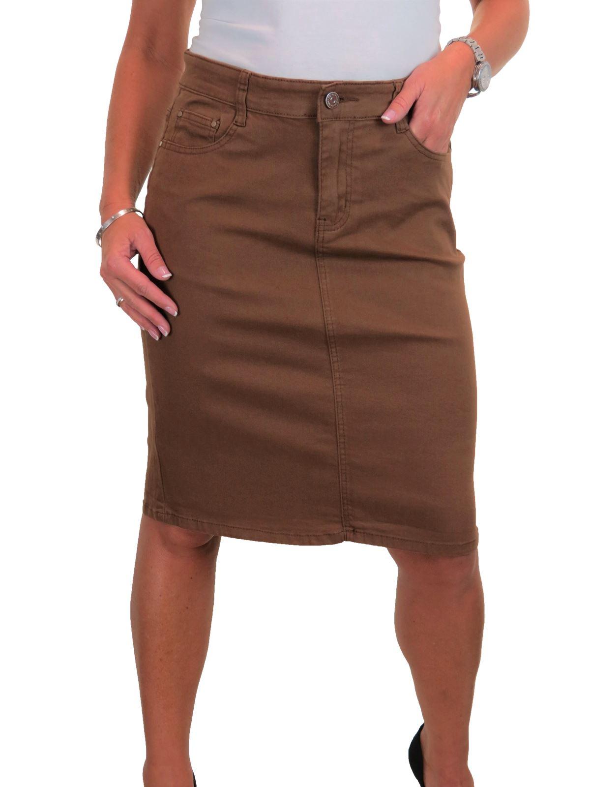 ICE-Womens-Good-Stretch-Jeans-Skirt-Knee-Length-14-22 thumbnail 9