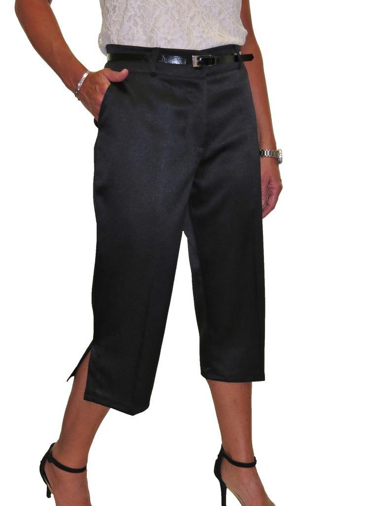 Ladies-Smart-Crop-Capri-Trousers-Matt-Satin-Evening-Easy-Fit-With-Belt-NEW-8-22 thumbnail 13
