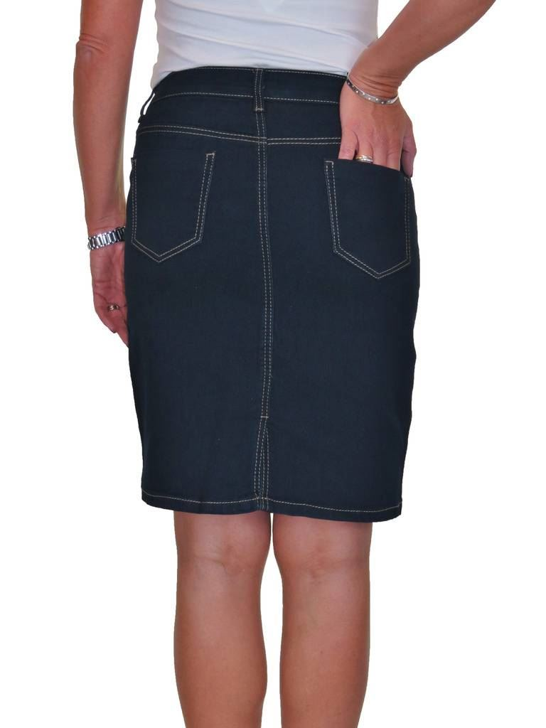 ICE-Stretch-Denim-Above-Knee-Jeans-Skirt-Smooth-Wash-10-20