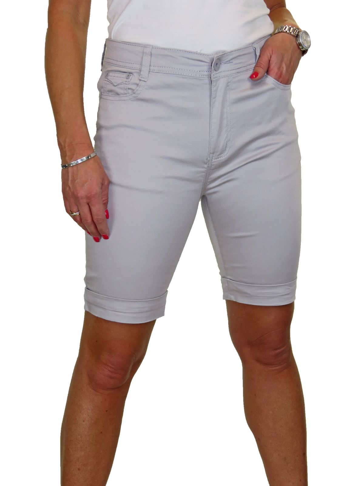 Ladies-Stretch-Stretch-Plus-Size-Jeans-Style-Shorts-Chino-Sheen-14-24 thumbnail 21