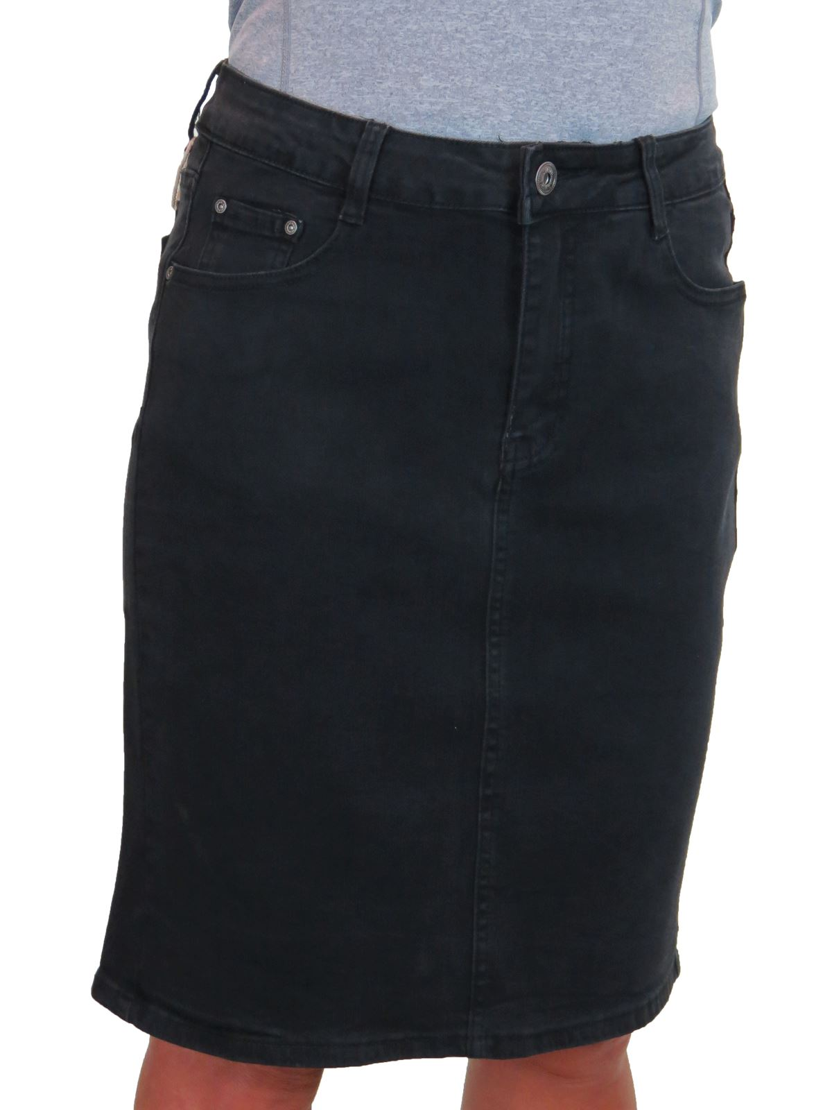 ICE-Knee-Length-Denim-Skirt-With-Great-Stretch-Jeans-Skirt-10-22 thumbnail 7