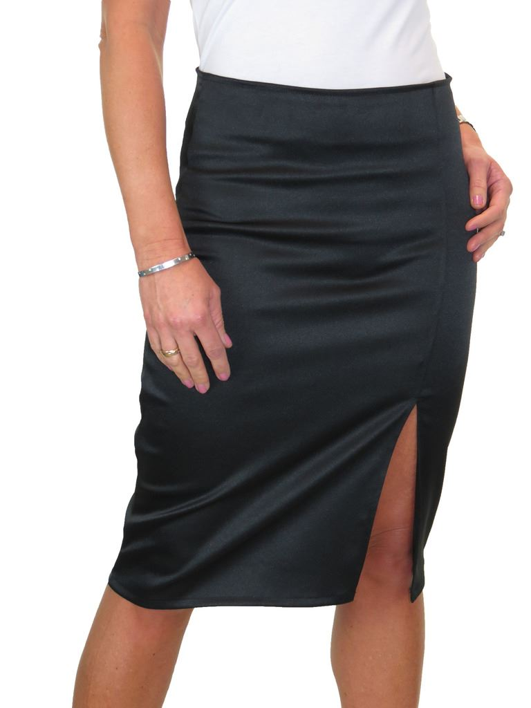 "ICE Office School Stretch Pencil Skirt 22/"" Smart Casual Black 6-18 2495-1"