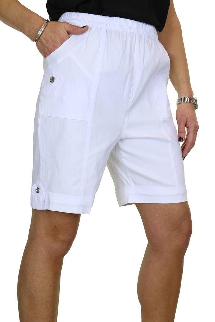 Womens Elasticated Waist Stretch Shorts Button Turn Ups Black NEW 8-20