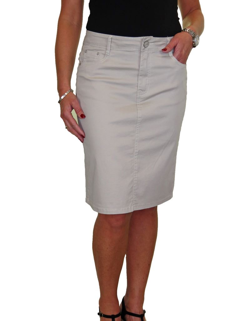 ICE-Stretch-Chino-Jeans-Style-Below-Knee-Pencil-Skirt-10-22 thumbnail 24