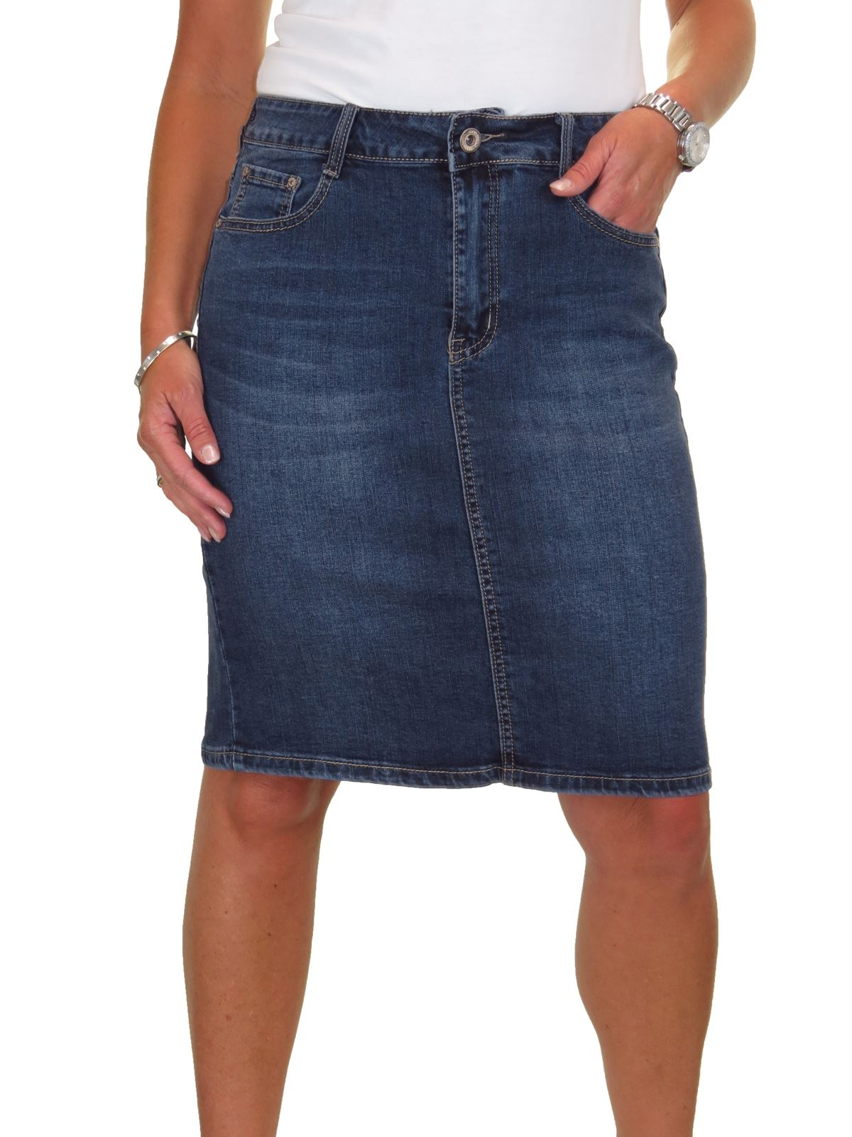 ICE-Stretch-Denim-Above-Knee-Jeans-Pencil-Skirt-Faded-Wash-10-18 thumbnail 5