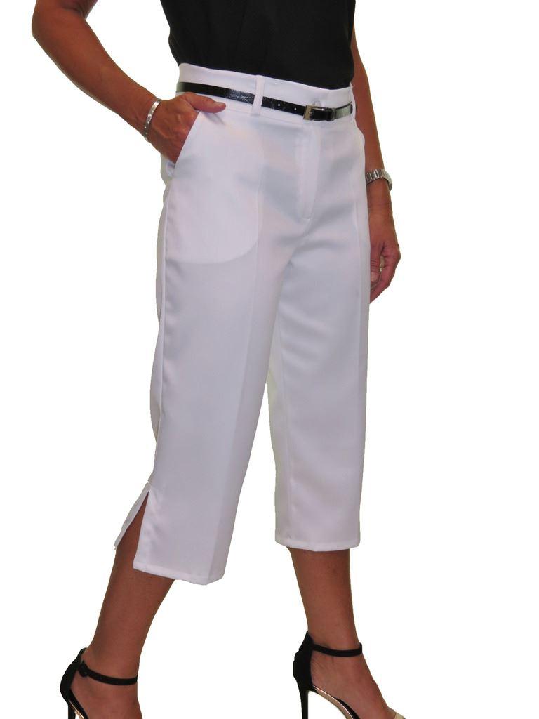 Ladies-Smart-Crop-Capri-Trousers-Matt-Satin-Evening-Easy-Fit-With-Belt-NEW-8-22 thumbnail 25