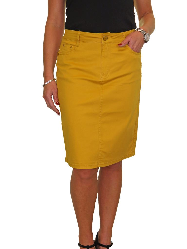ICE-Stretch-Chino-Jeans-Style-Below-Knee-Pencil-Skirt-10-22 thumbnail 13