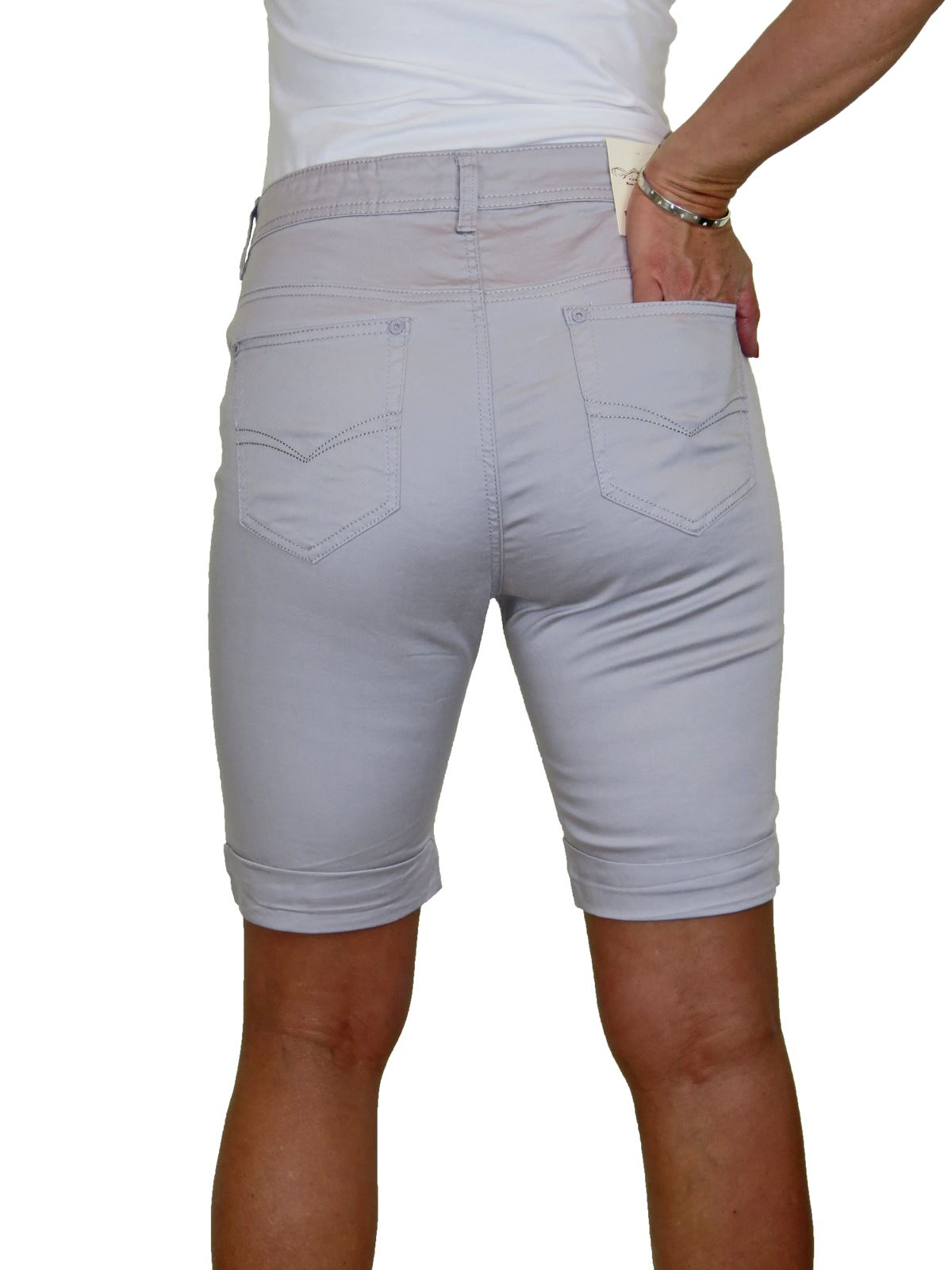 Ladies-Stretch-Stretch-Plus-Size-Jeans-Style-Shorts-Chino-Sheen-14-24 thumbnail 20
