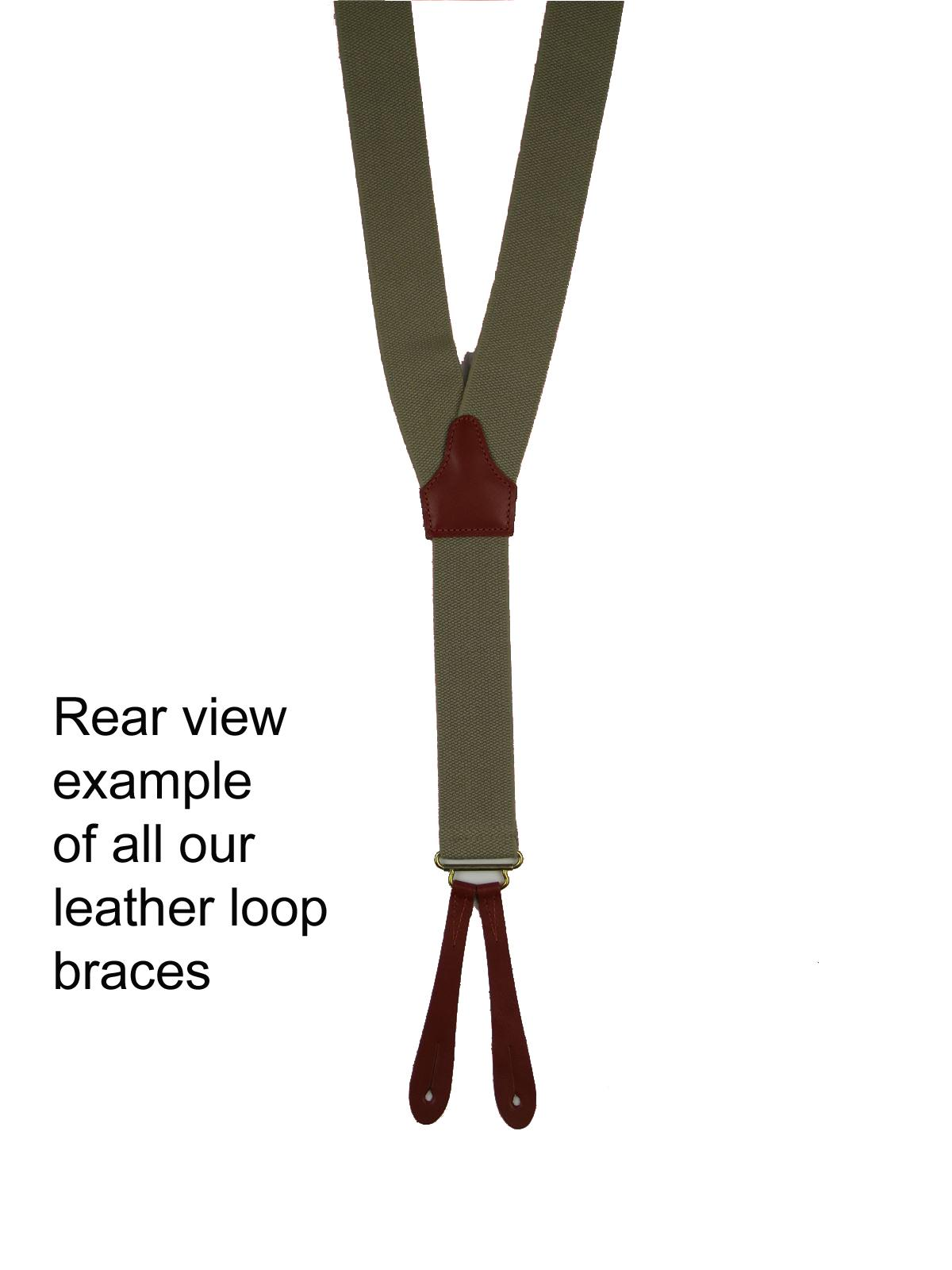 Trouser Braces1940s 50s Retro Blue Trouser Suspenders with Tan Loop Fastening
