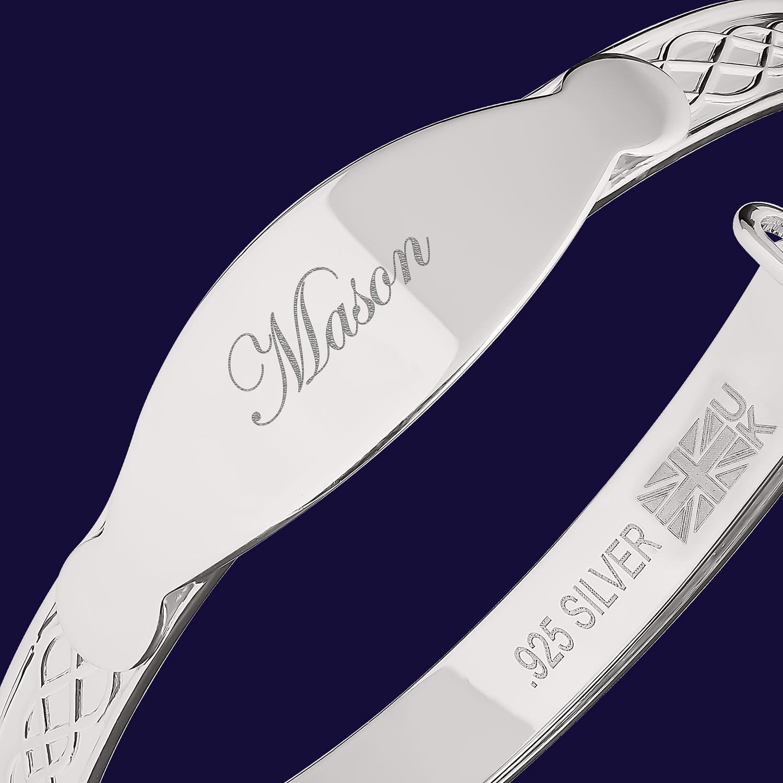 Mason-Silver-Gold-Bracelet-Baby-Boy-Christening-Gift-Personalised-Bangle thumbnail 18