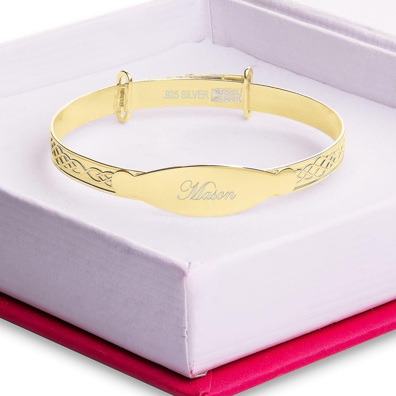 Mason-Silver-Gold-Bracelet-Baby-Boy-Christening-Gift-Personalised-Bangle thumbnail 13