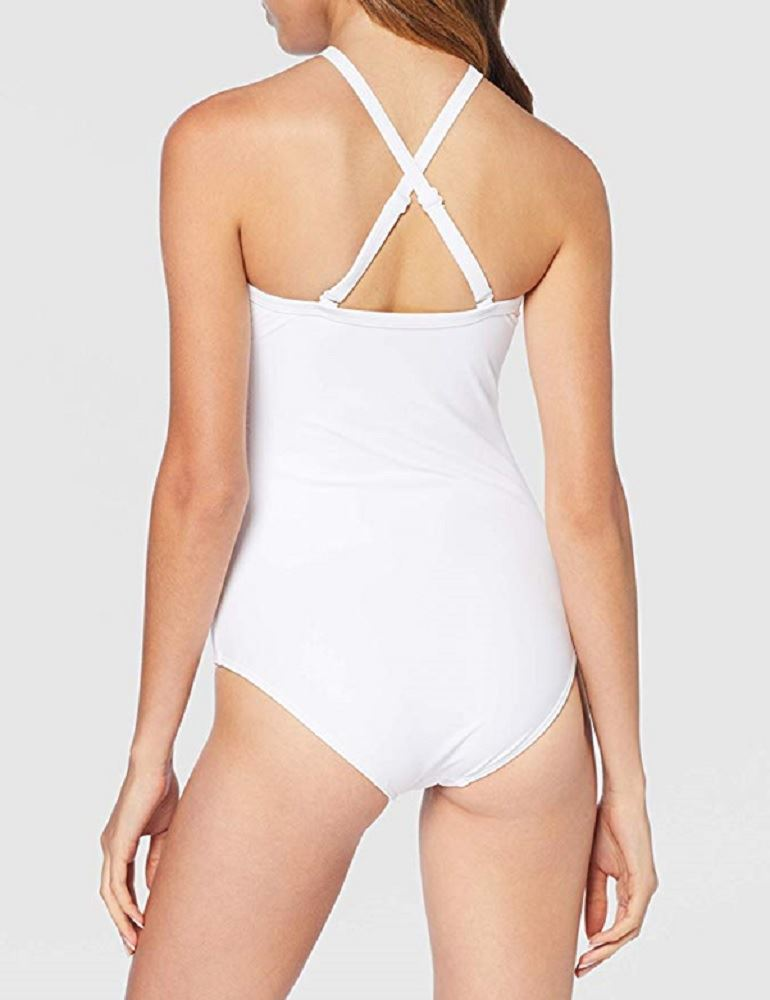 Pour Moi Beach Bound High Neck One Piece Swimsuit Bathing Suit 11107 White