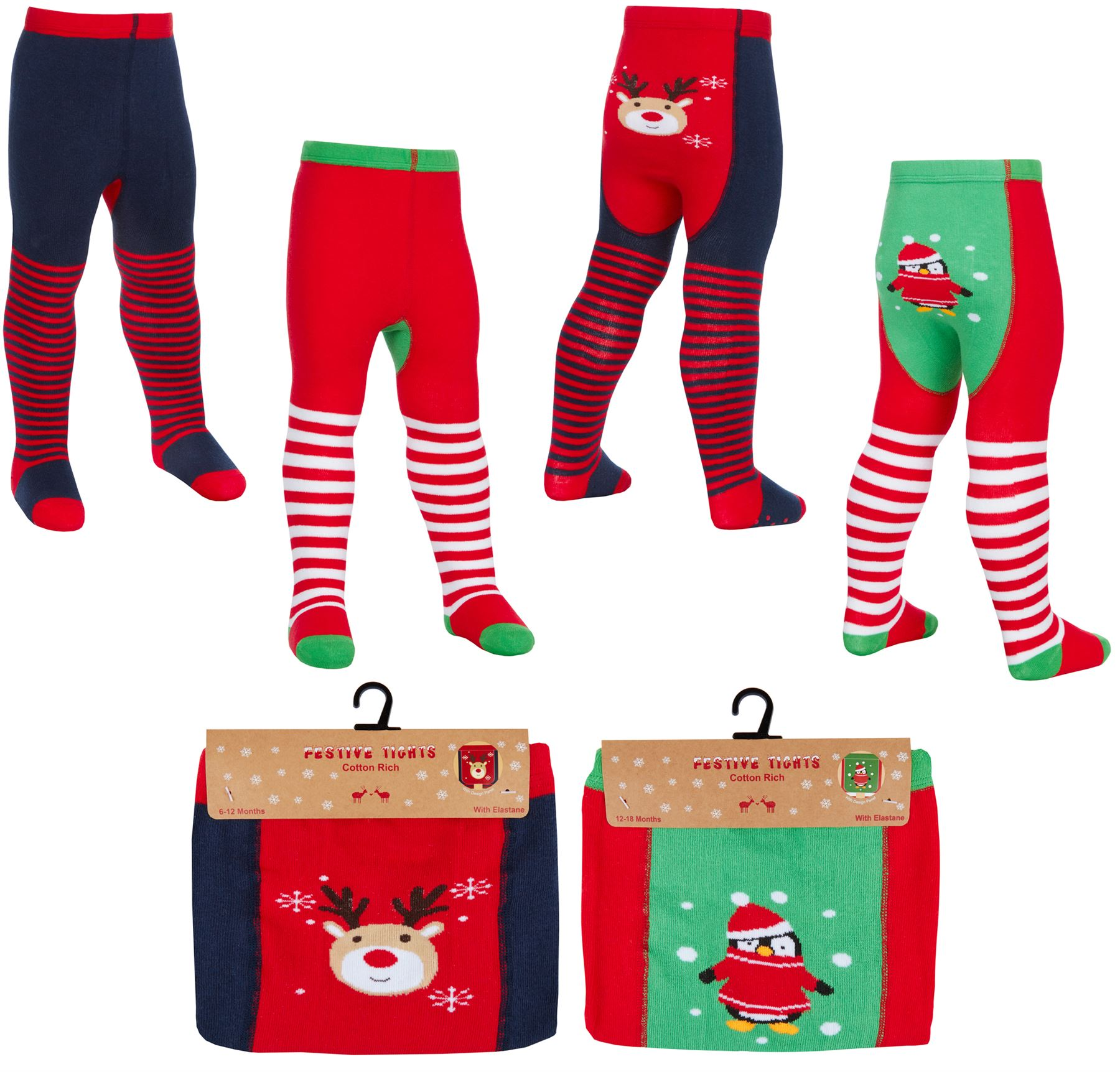 Girls Festive Tights Christmas Cotton Santa Robin