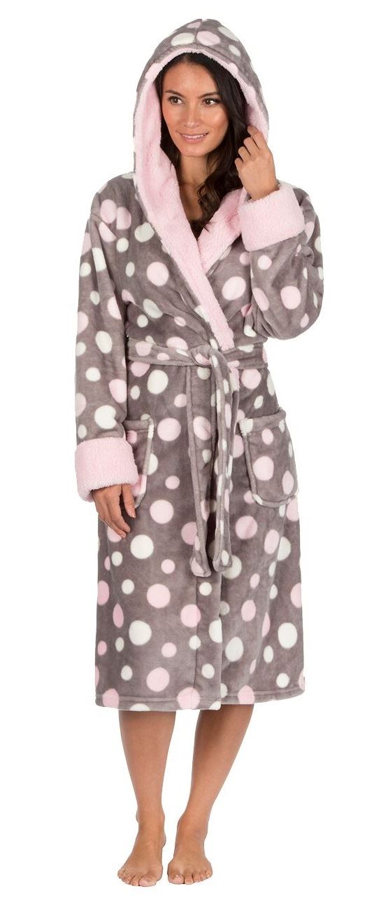 Womens Ladies Super Soft Coral Fleece Dressing Gown Robe Wrap ...