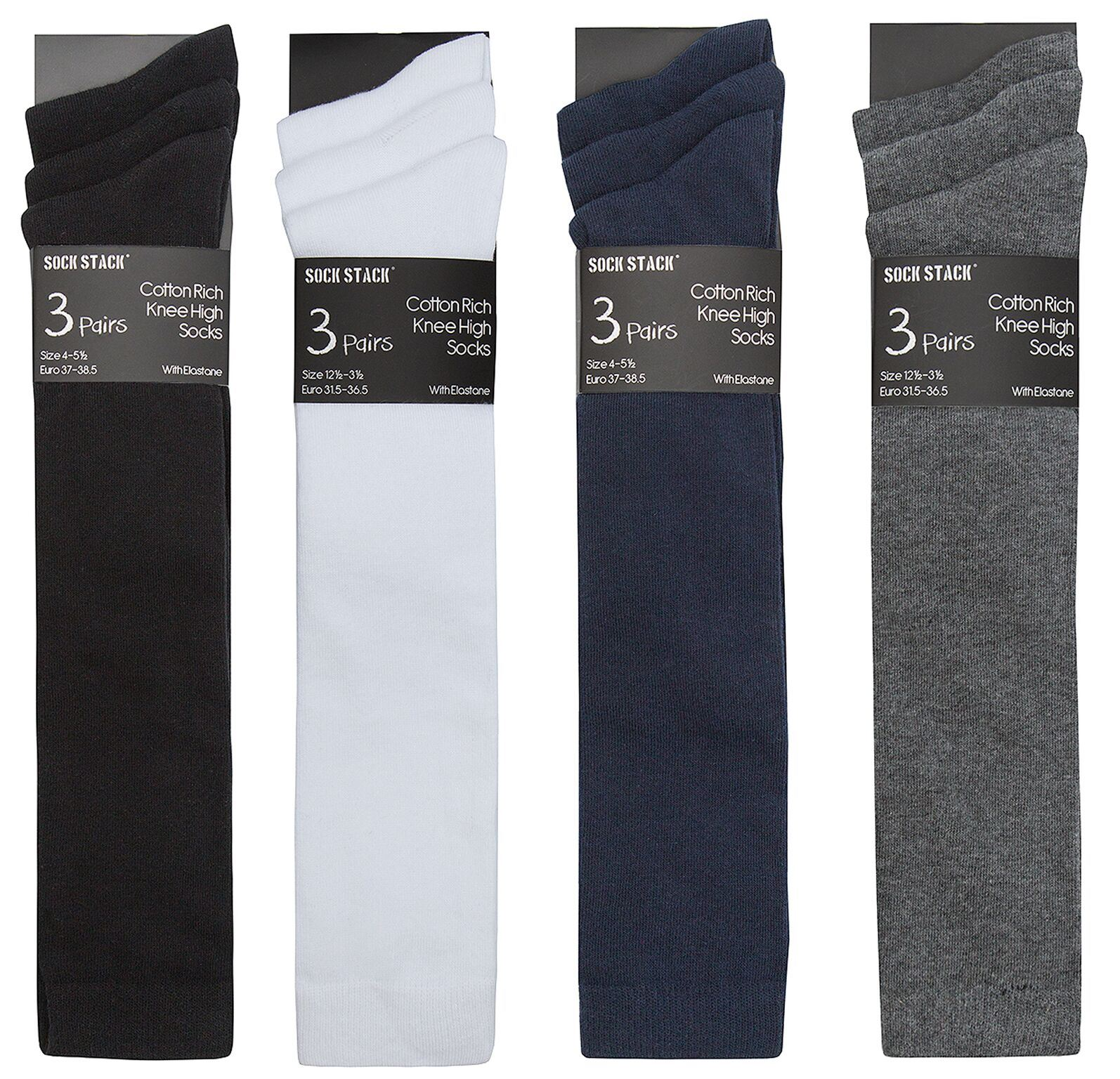 12 Pairs Grey Knee High School Socks Size 6-9 39-42