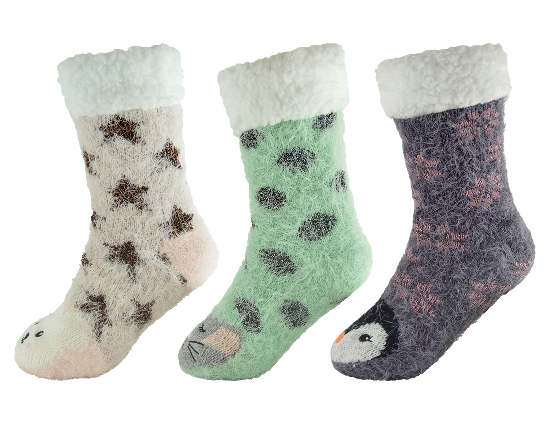Foxbury Ladies Fleece Lined Chunky Knit Animal Slipper Socks One Size