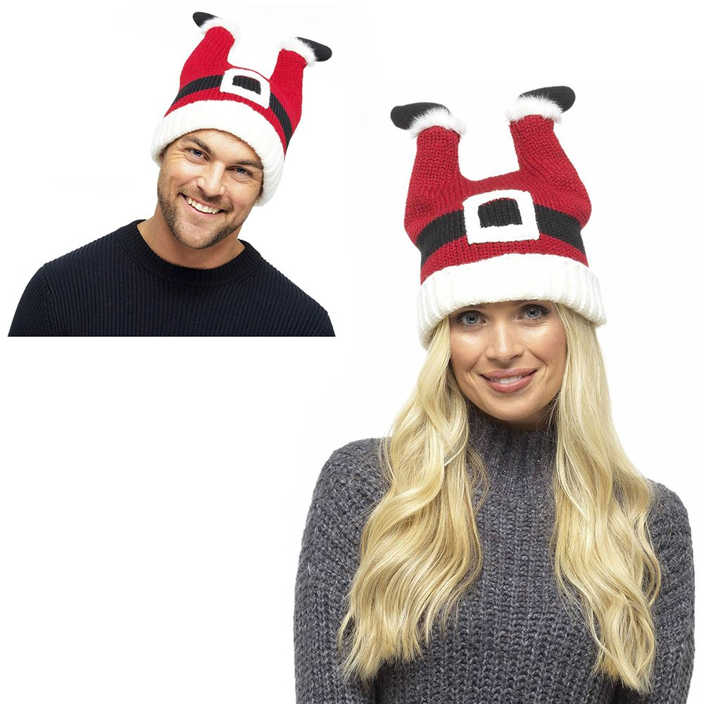 5ea59d26951 Details about Adults Mens Womens Adults Mens Womens Knitted Fun Xmas Hats  Santa