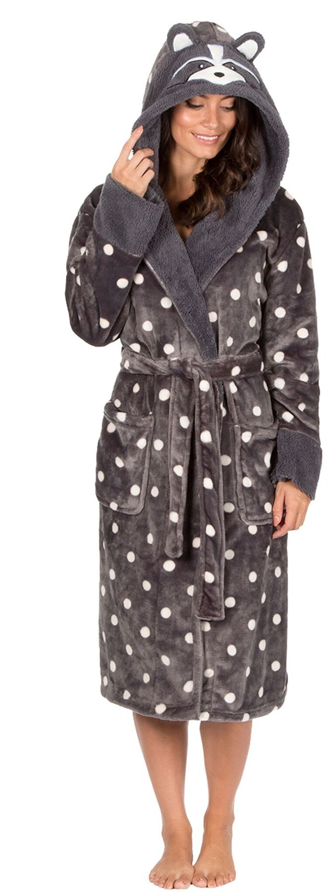 Womens Animal Hooded Coral Fleece Dressing Gown Robe Wrap Bathrobe ...