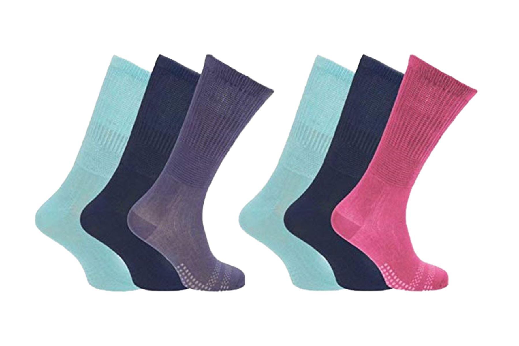 Bamboo Socks Wide Loose Top Diabetic Sock Women size 2-11 Black Navy White Grey