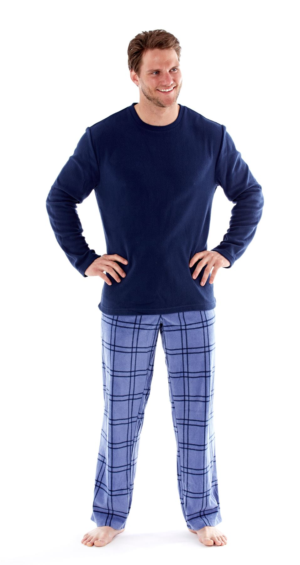 Harvey James Mens Soft Fleece Plain Top Check Bottom Pyjamas MN113 MN114