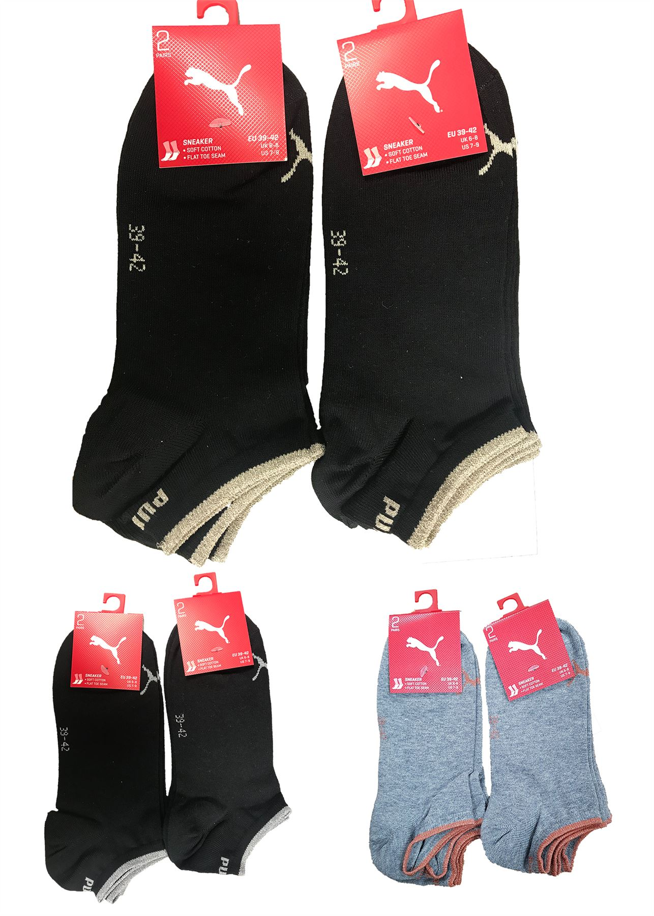 Details about 4 Pairs Puma Womens Sparkly Lurex Sneaker Trainer Sports Socks